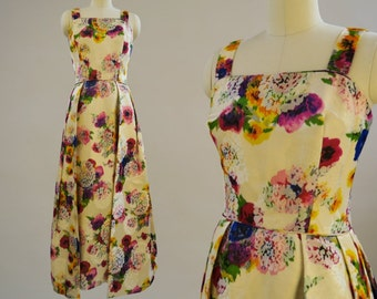 LILLIE RUBIN 1950s Watercolor Floral Gown