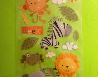 EK Success  --  Jungle Buddies  --  17 pieces --  self adhesive glittered stickers  --   NEW  --  (#1564)