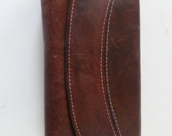Vintage Rich Deep Brown Leather Vintage Purse / Wallet - Soft quality leather - large size with lots of room