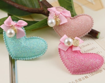 6 pcs x Cute Hearts with Ribbon Bows and pearls Applique,Hair Bow Supplies, Hair clips embellishment, 3 color choices