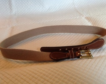 Vintage NOS DOONEY and BOURKE Tan Taupe Belt Leather and Brass Trim Size 26