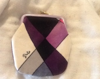 Vintage EMILIO PUCCI Coin Purse ITALY Signed Purple Pink Black