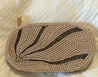 Vintage Small JAPAN BEADED CLUTCH Ivory With Silver Rays Satin Lining Flapper