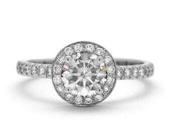 Halo 1 Carat Diamond Ring in 18k White Gold