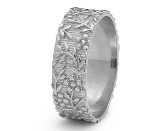 Floral Wedding Ring Vintage Foliage in White Gold