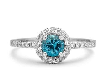 Aquamarine Engagement Ring - Diamonds and Aquamarine Ring - Aquamarine Engagement Ring white gold - Natural Diamonds Aquamarine Ring