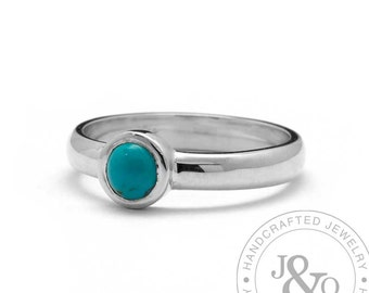 Turquoise Engagement Ring Smooth White Gold Simple Engagement Ring