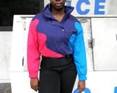 Vintage Ski Jacket - 90s Hot Pink, Navy Blue, and Deep Turquoise COLOR BLOCK Puffer Skiwear Jacket by Tyrolia Skiwear - Size 8 Medium M