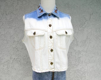 90s Acid Washed Denim Vest - Stone Wash Crop Top - Vintage 90s Hand Bleached Jean Shirt w Embroidered Bears and Hearts Collar, OOAK Large L