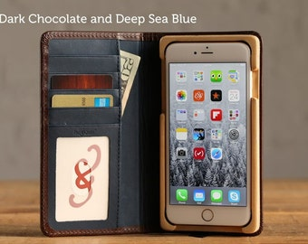 The Luxury Book Case for iPhone 7 Plus - Dark Chocolate and Deep Sea Blue