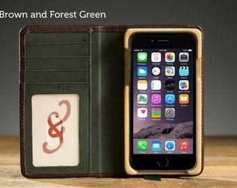 The Little Pocket Book Case for iPhone 7 - Brown and Forest Green