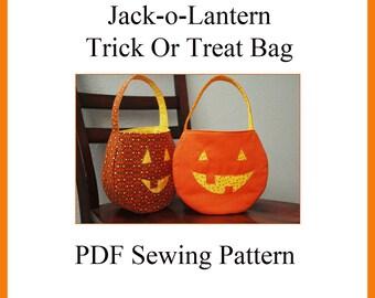 Jack-o-Lantern Trick Or Treat Bag PDF Sewing Pattern INSTANT DOWNLOAD
