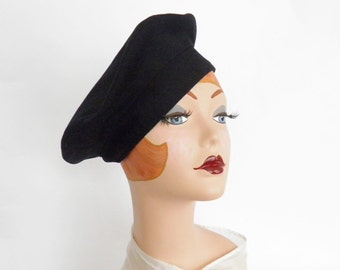 Vintage navy hat, wool tilt beret, boyfriend hat