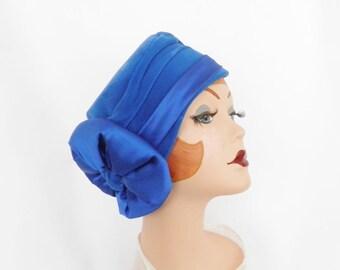 Vintage 1950s hat tilt royal blue Marie