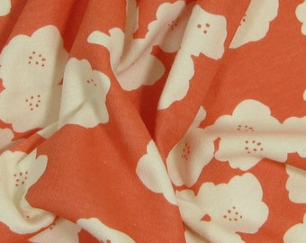 "Organic Cotton Interlock, 45"" wide, Poppies Coral"
