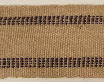 "Jute Webbing, Natural with Black Stripe, Sold by the Yard, 3.5"" Wide"