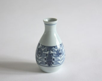 Small Vintage Blue and White Hand Painted Bud Vase