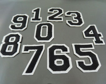 Number Patches - Iron on or Sewing on Patch 0-9 Number Patches Black Patch Embellishments