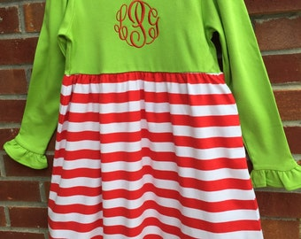 Girls Lime Green/Red Stripe Christmas Dress Size 5T- Personalized with Monogram