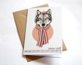 Winter Wolf | Square Blank Greeting / Christmas Card