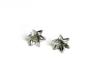 Sterling Silver Bellflower Stud Earring, Lily, Flower, Trillion Earring, Solid Silver