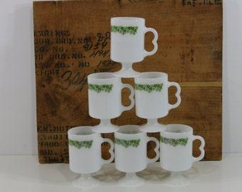 Six Vintage Pyrex Coffee Mugs