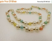 Summer Sale Vintage pastel pearl beaded necklace