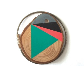 Pine wood keychain with stainless steel  wire option for cutom initial keyring , tones of pink, green, black,grey geometric triangle shapes