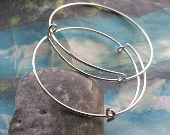 10pcs 64mm adjustable slider silver bangle wire bracelets