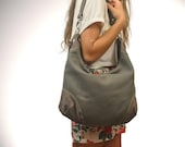 Crossbody, hobo canvas bag, shoulder bag,everyday bag, messenger in grey cotton canvas with leather accents, called Marianthi