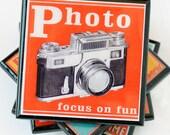 vintage camera coaster set, vintage camera decor, retro camera advertising drink coaster, gifts for photographers, set of four, hostess gift