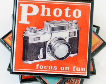 vintage camera coaster set, vintage camera decor, retro camera advertising drink coaster, gifts for photographers, set of four, hostess gift