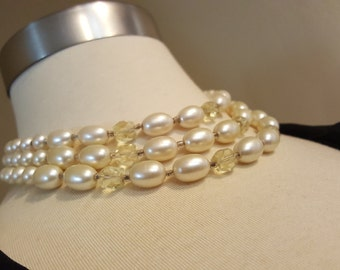 Snow & Ice - Vintage Triple Strand Faux Pearl and Plastic Crystal Necklace