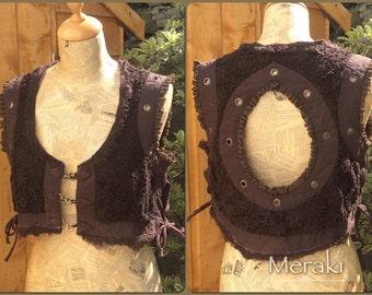 Steampunk Pixie Crochet Lace Waistcoat Vest, Tribal Burning Man