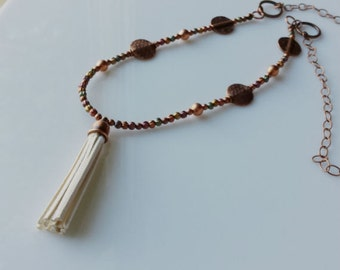 TASSEL NECKLACE/COPPER, Mixed Colored Metal