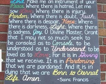 Prayer of St Francis Religious SIGN 24x24 Serenity AA Sarah McLachlan Lyrics Subway Distressed primitive Love Faith Handpainted Wooden WHAGN