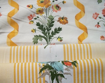 Bundle of Vintage French 1940's Summer Ticking Fabric Pieces Yellow roses Sunshine Stripes