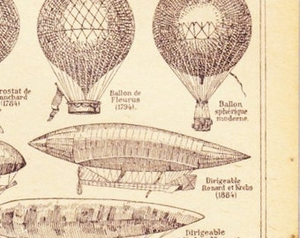 Beautiful Antique Print book Page 1940s Engraved iIlustrations Hot Air Balloons Blimp Bi-plane paper projects scrapbooking collage