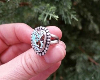 Blue Oasis Turquoise and Sterling Silver Ring size 5 1/2