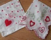 2 Vintage Valentine's Day Red Heart Print Handkerchief Hankies