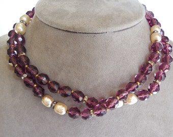 Signed Miriam Haskell Signed Baroque Pearl & Amethyst Crystal Bead Necklace