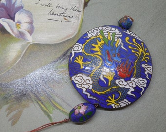 Chinese Cloisonne Blue Dragon Pendant for Necklace