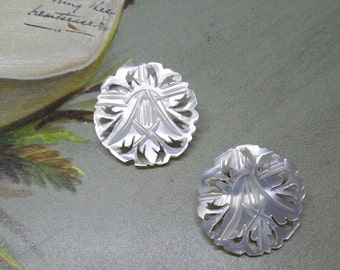Vintage Carved Mother of Pearl Flower Clip On Earrings