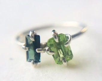 DOUBLE GREEN TOURMALINE & silver ring