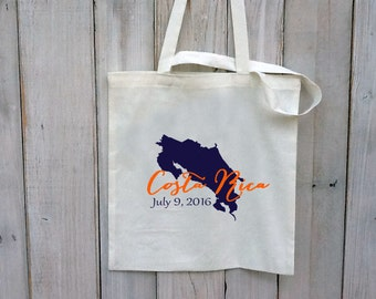 20+ Costa Rica Custom Destination Wedding Welcome Canvas Wedding Tote Bags - Eco-Friendly Natural Cotton Canvas