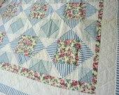 1950's Quilt Diamond Square Blue With Pink Roses Hand Quilted