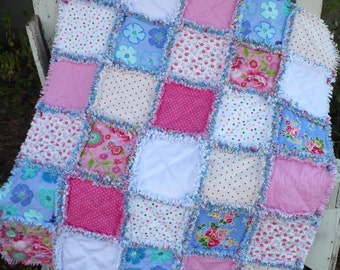 Baby Girl Rag Crib Quilt -Sweet and Bright Shabby Florals and Dots in Raspberry Pink Periwinkle and White Ready to Ship