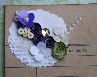 Quilled All Occasion Library Card Package or Gift Embellishment New Baby Birthday Wedding Anniversary Engagement in Purples with Pearls