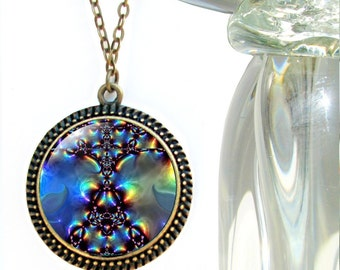 Large Abstract Necklace, Aura Healing Jewelry, Reiki Energy Pendant