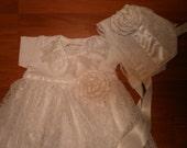 Christening Gown SET Bonnet, Blessing Gown, Baptism Dress, Baby Gown, White Dress, Photo Prop, Elegant Dress, Lace Dress, Preemie Dress,